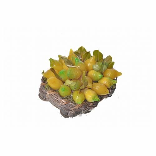 Nativity accessory, lemon basket in wax, 4.5x5.5x6cm s2