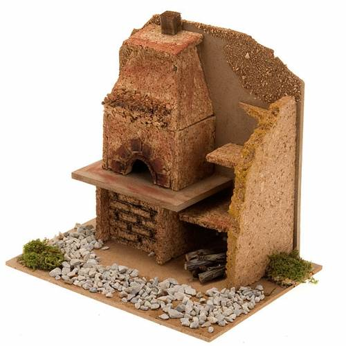 Nativity accessory, oven with hood and shelves, 20x14x16 cm s4