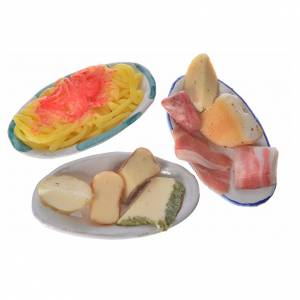 Nativity accessory, terracotta plate with assorted food in wax, s2