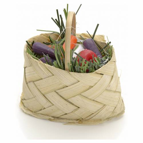 Nativity accessory, wicker basket with vegetables do-it-yourself s1