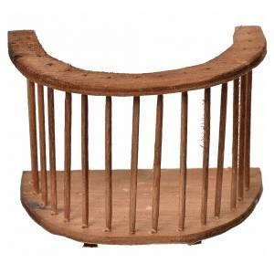 Nativity accessory, wooden round balcony, 7x8.5x5cm s1