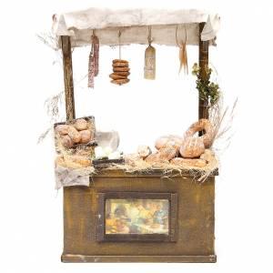 Miniature food: Nativity baker's stall in wax, 40x25x10.5cm