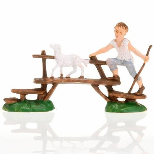 Nativity figurine, boy with sheep on bridge 8cm s1