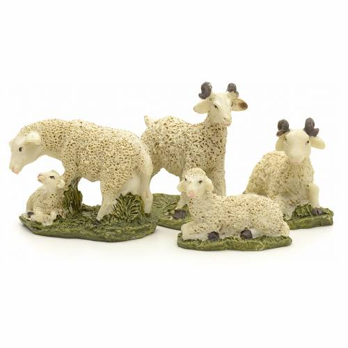 Nativity figurine in resin, sheep 10cm set of 4pcs s2