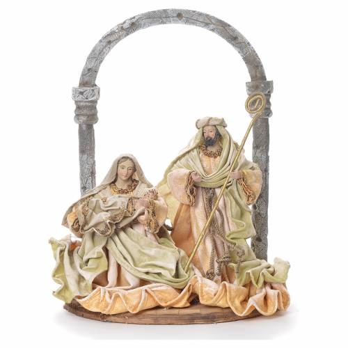 Nativity figurine with arch in fabric and resin, cream gold 41cm s1