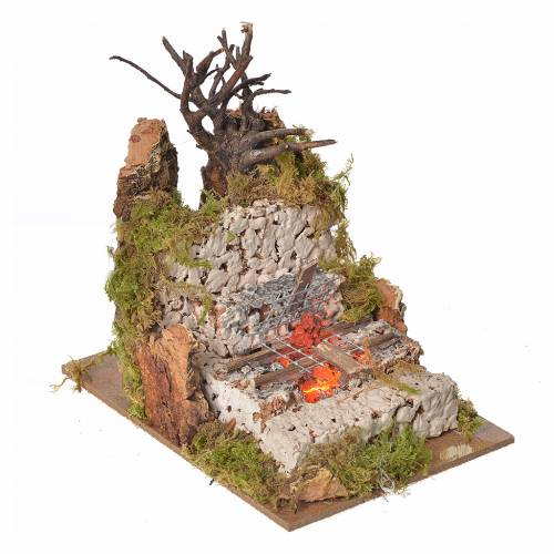 Nativity fire with lamp and grill, 15x10x10cm s2