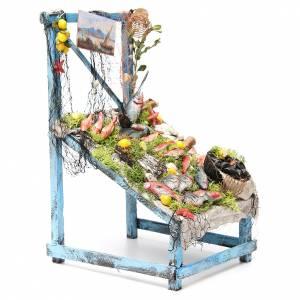 Nativity fishmonger stall in wax, 39x26x22cm s4