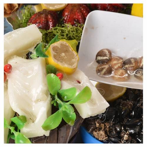 Nativity fishmonger stall in wax 48x26x24cm s6