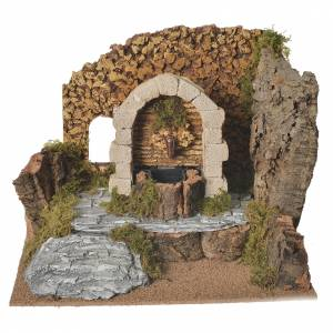 Fountains: Nativity fountain in plaster with setting in cork 32x24x24cm