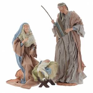 Nativity sets: Nativity in Light blue and ochre finish 44cm
