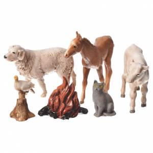 Nativity Scene by Moranduzzo: Nativity Scene animals and wood fire by Moranduzzo 10cm, 5 pieces