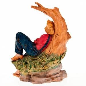 Nativity Scene figurines: Nativity scene figurine, man resting under a tree 13cm