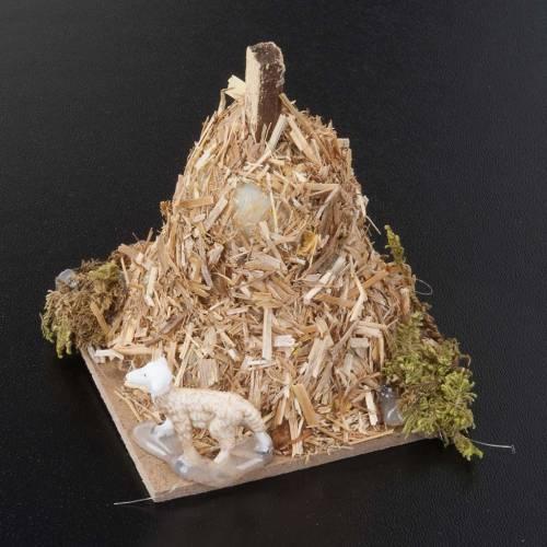 Nativity scene figurine, sheep and sheaf of straw 6cm s2