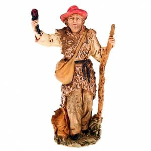 Nativity scene figurine, shepherd with torch and stick 13cm s1