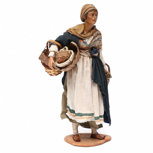 Nativity scene figurine, woman with baskets 30 cm, Angela Tripi s3