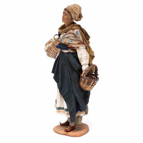 Nativity scene figurine, woman with baskets 30 cm, Angela Tripi s2