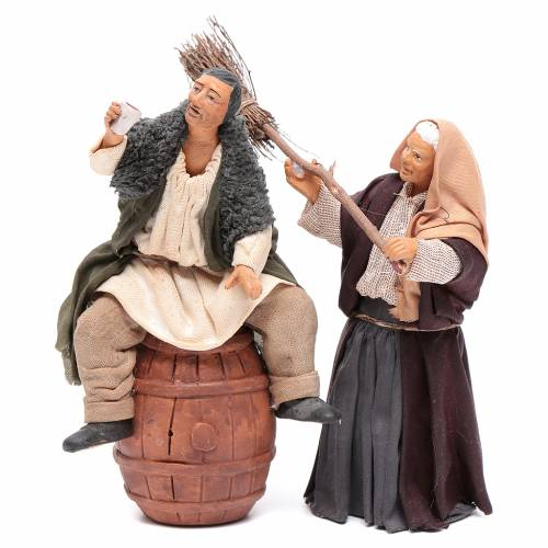 Nativity scene figurines, drunk man and woman with broom 14cm 1