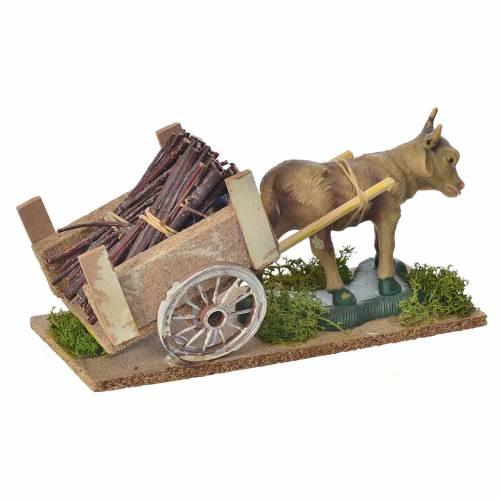 Nativity scene figurines, ox, cart s3