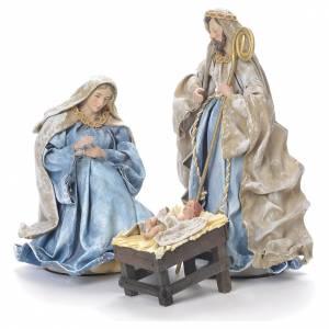 Nativity scene in resin, 25cm blue and green s1