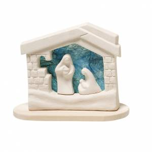 Stylized Nativity scene: Nativity scene, nativity stable in clay with base, turquoise 14,