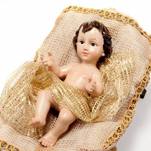 Nativity scene set beige and gold 33 cm resin s5