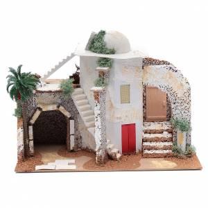 Settings, houses, workshops, wells: Nativity scene setting Arabian house25x33x15 cm
