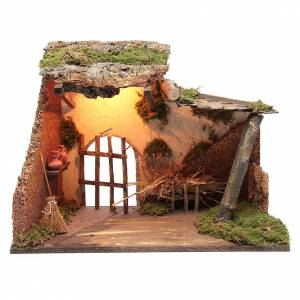 Settings, houses, workshops, wells: Nativity scene setting stable with light 35x50x25 cm