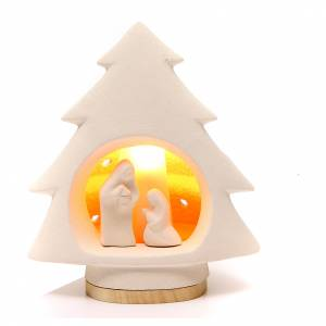 Nativity scene, tree shaped, in clay with light s1