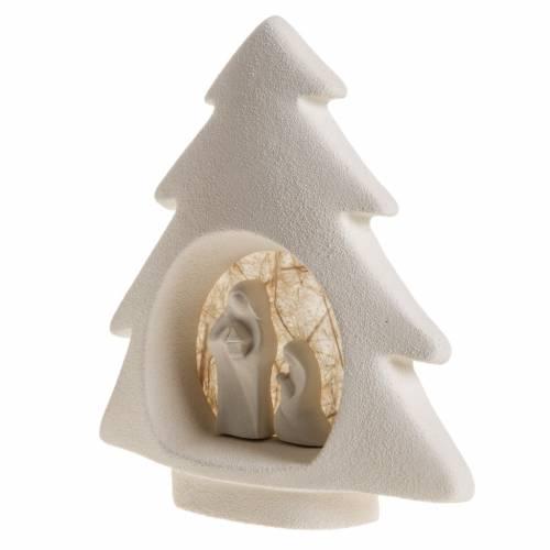 Nativity scene, tree shaped wall nativity in clay, beige s4