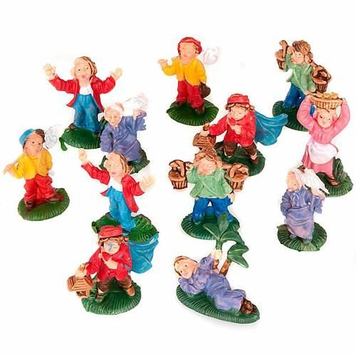 Nativity set accessory, 12 shepherds figurines 3cm s1