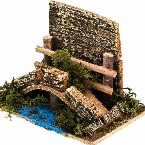Nativity set accessory, bridge over stream with fence s2