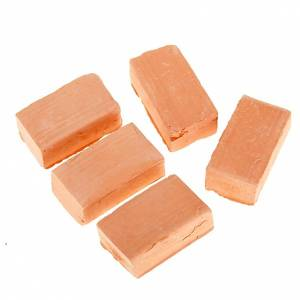 Home accessories miniatures: Nativity set accessory,terracotta bricks 5 pcs.