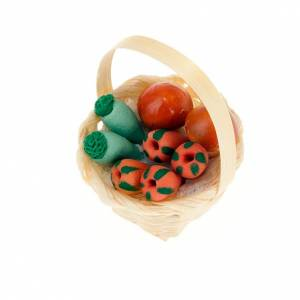 Miniature food: Nativity set accessory, wicker basket with vegetables