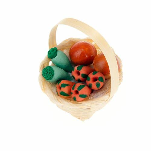 Nativity set accessory, wicker basket with vegetables s1