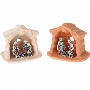 Nativity set of clay with church 6 cm s1
