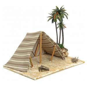 Nativity setting, Arabian tent with palms 22x32x24cm s2