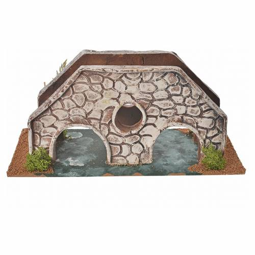 Nativity setting, bridge in terracotta 23x10x10cm s1