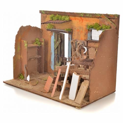 Nativity setting, carpenter's workshop 33x18x25cm s3