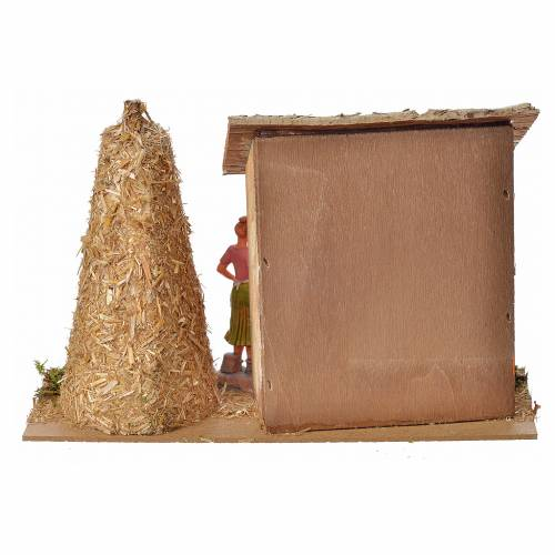 Nativity setting, farm house with hens and straw 18x27x12cm s3