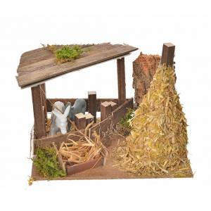 Settings, houses, workshops, wells: Nativity setting, fence with donkey and straw stack 11x15x10cm