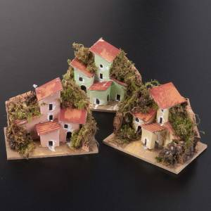 Settings, houses, workshops, wells: Nativity setting, houses in assorted colours 10x6cm