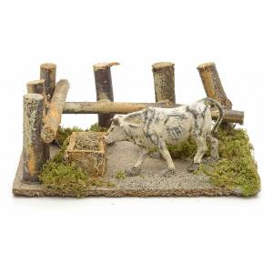 Settings, houses, workshops, wells: Nativity setting, ox at the manger 10x14x9cm