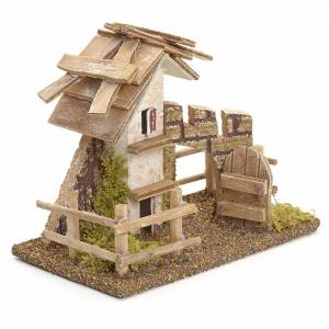 Nativity setting, rustic house with fence 11x13x16cm s2