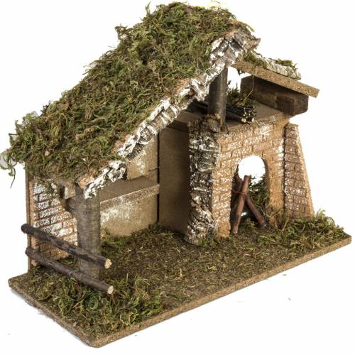 Nativity setting, stable with electric fire 26x36x16cm s5