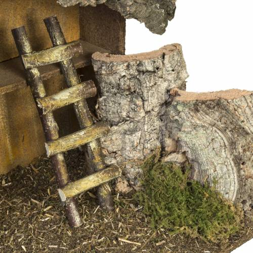 Nativity setting, stable with ladder and barn 30x50x24cm s4