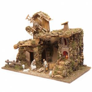 Nativity setting, stable with mill and fire 38x58x28cm s3