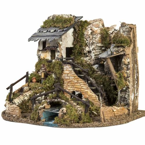 Nativity setting, village with fountain, stream and fence s3