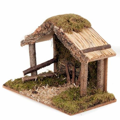 Nativity stable, wood, moss and cork s3