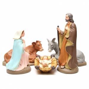 Terracotta Nativity Scene figurines from Deruta: Nativity terracotta with decoration 40cm - 5 pcs