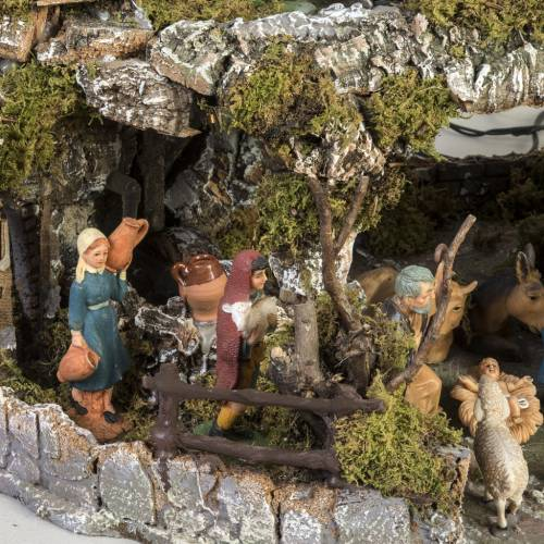 Nativity village Neapolitan style with stable, lights and fire s3
